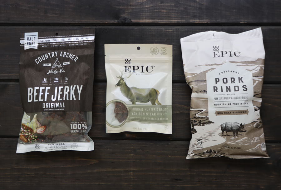 Healthy keto Snacks like pork rinds and beef jerky For Fathers Day at IHerb