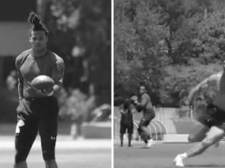 Cam Newton Works Out With Shirtless Julian Edelman, 'Great Ball!'