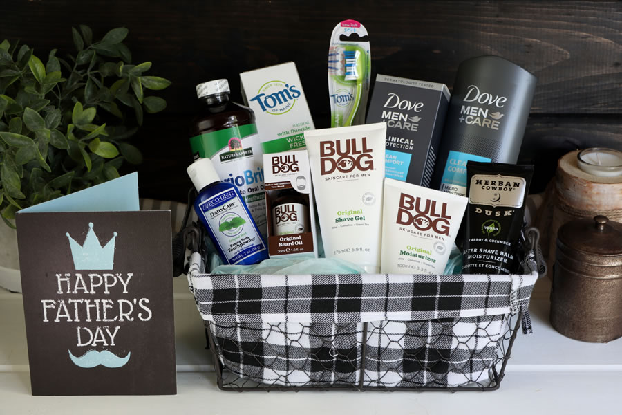A Father's Day Gift Basket with personal care products from Dove, Bull Dog, Herban Cowboy, Tom's of Maine and Periobrite