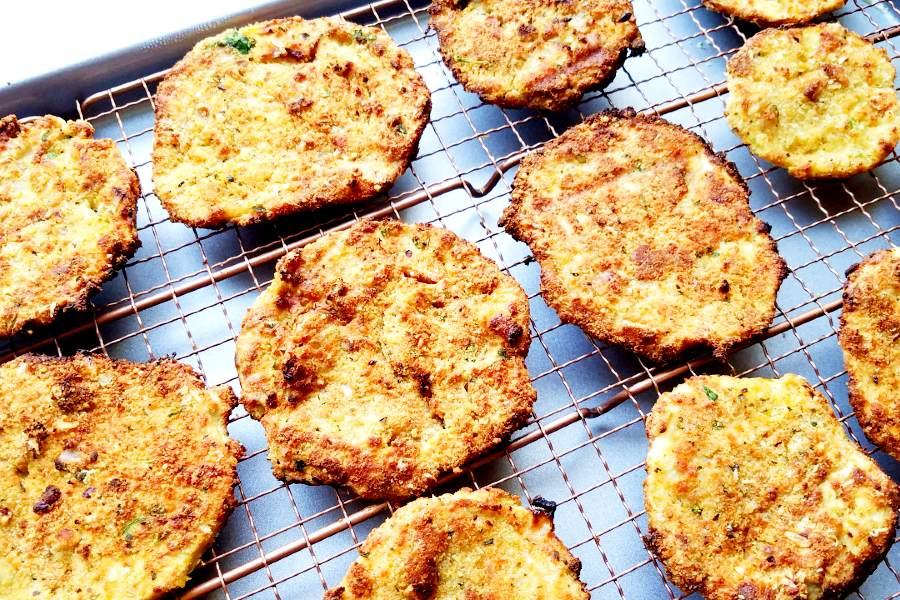 air-fried eggplant slices on a cooking grid