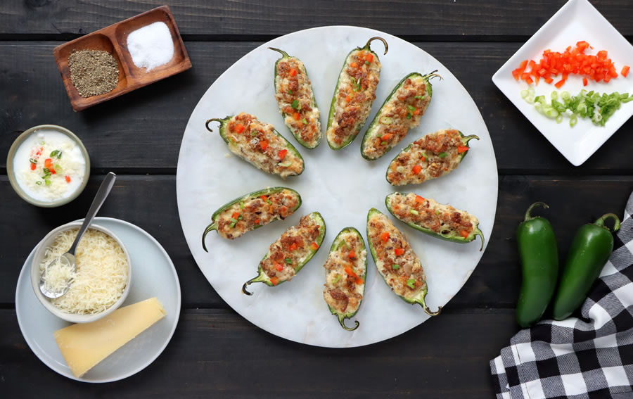 Cheese and Sausage Stuffed Jalapenos Plate with Asiago and Parmesan |  https://onbetterliving.com