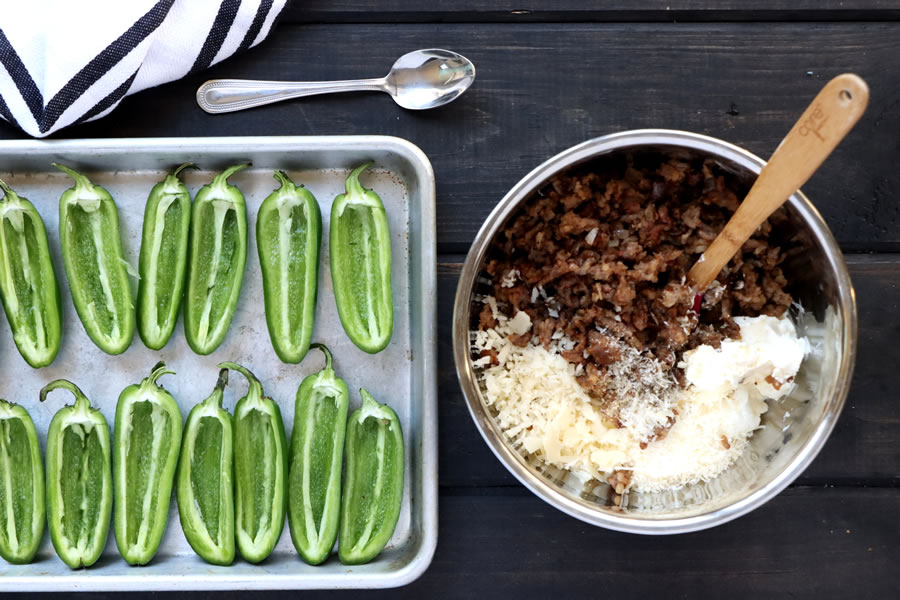 make a sausage filling for the cooked jalapenos