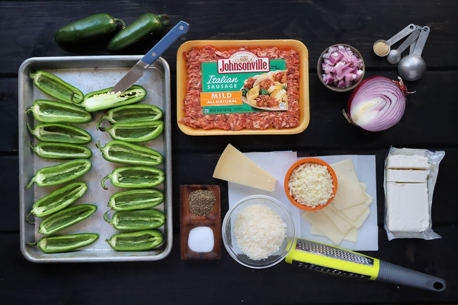 Prepare the ingredients for the Sausage Stuffed Jalapenos with Ground Johnsonville Italian Sausage