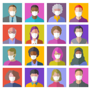 16 colorful head profile icons wearing masks to help prevent COVID-19