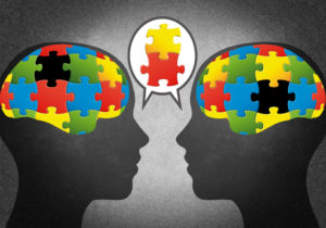 Illustration of puzzle pieces in two brains;  concept is two people with different ideas talking and agreeing on certain ideas
