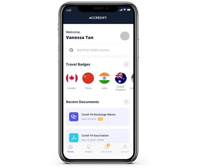 The Digital Health Passport app