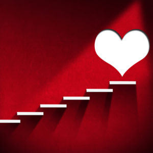 Red wall, white steps, white heart - conceptual steps for heart health