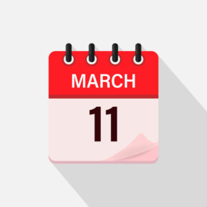 The calendar icon with a shadow shows March 11;  page starts to turn