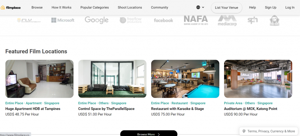 Screenshot of Filmplace website