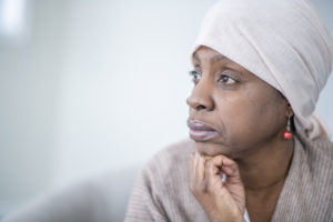 older african american woman thinking