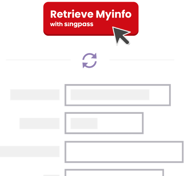 Automatic filling with the Myinfo singpass