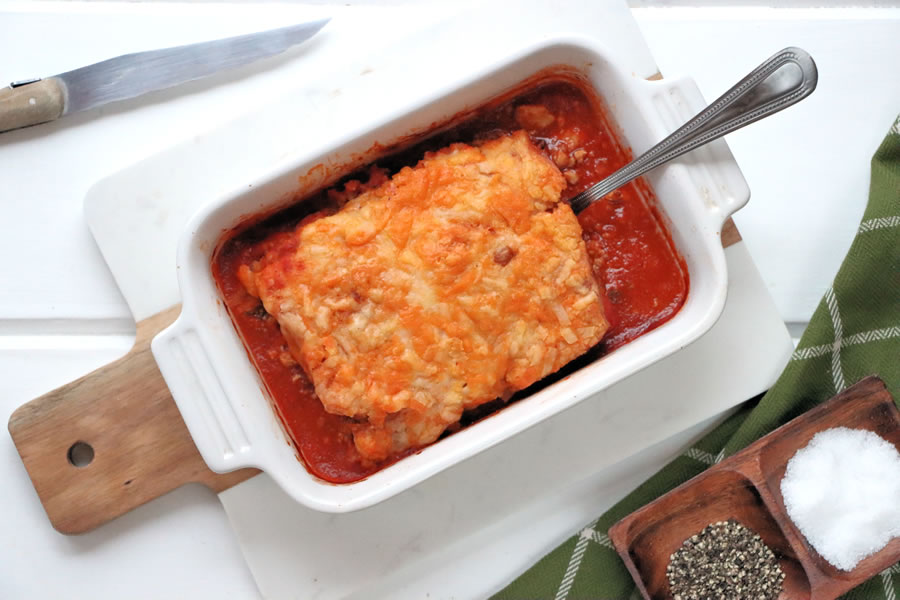 Veestro Enchilada casserole cooked in a dish