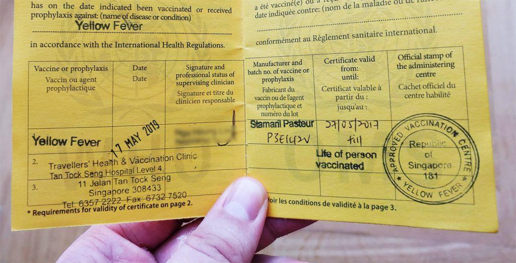 yellow vaccination card