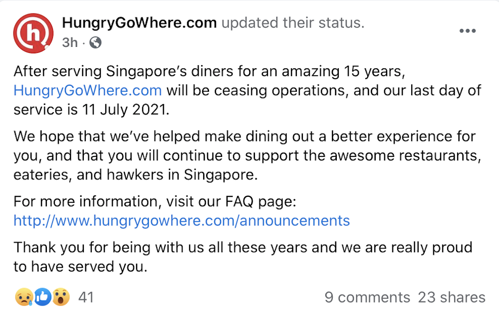 HungryGoWhere is closing its doors