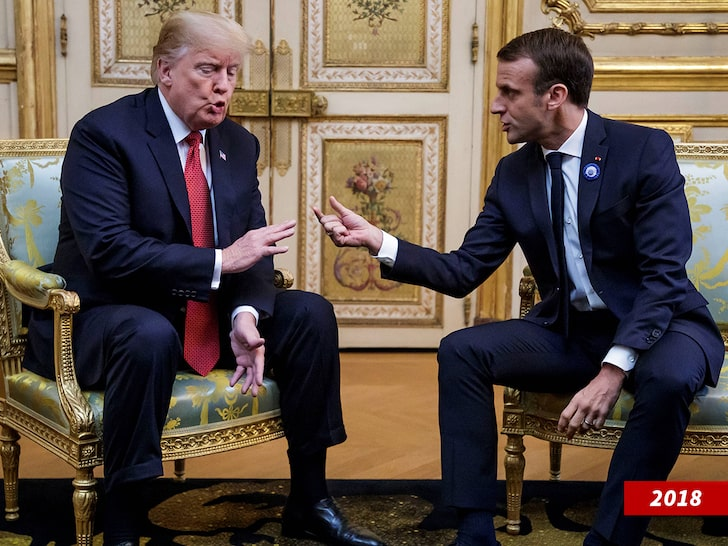President Trump and French President Emmanuel Macron discuss