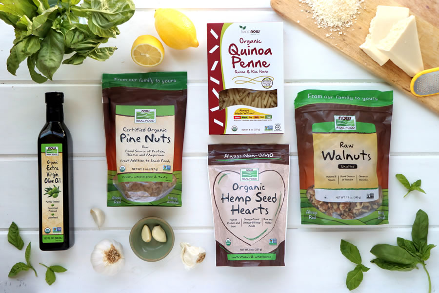 Now Foods pesto ingredients like pine nuts, walnuts and extravirgin olive oil. available at Daily Vita